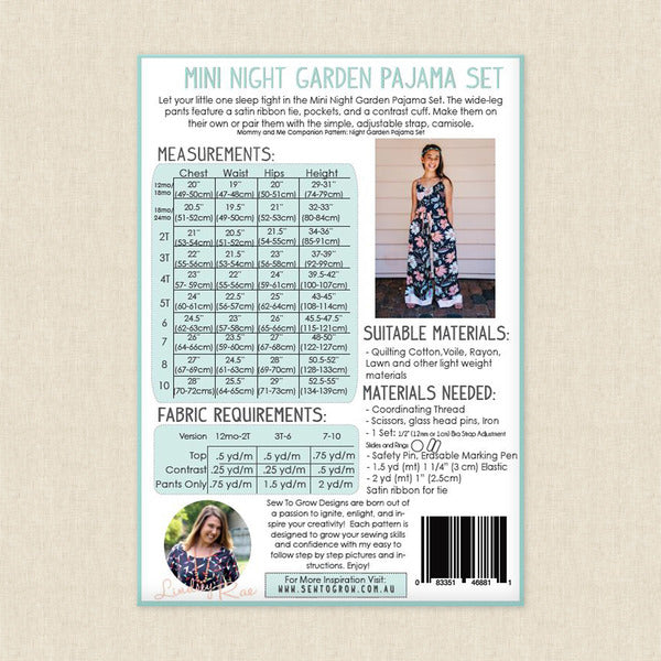 Sew To Grow - Mini Night Garden Pajama Set