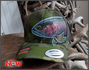 Spring Feeder Rainbow Trout-Yupoong Mesh Adjustable Snapback Multicam Green