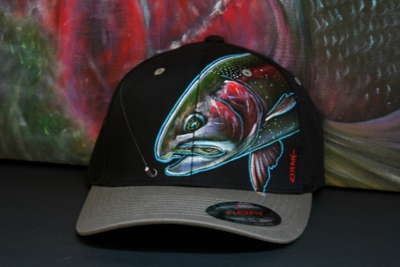 Rainbow Trout -chironomid slam (S-M Flexfit fitted Grey/black)