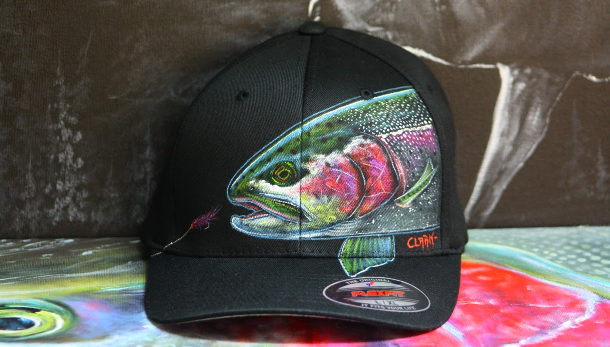 L-XL Black flexfit- Rainbow trout