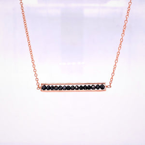 Custom Jewelry, 18k rose gold black diamond bar necklace, Sydney Strong, Greenville, South Carolina