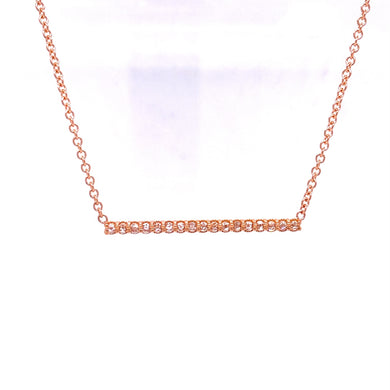 Custom Jewelry, 18k rose gold rose cut diamond bar necklace, Sydney Strong, Greenville, South Carolina
