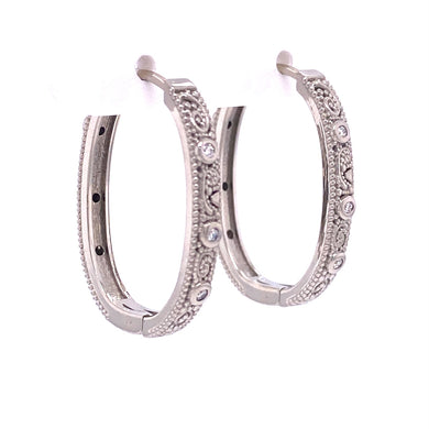 Custom jewelry, 18k white gold llyn hoops, llyn strong, Greenville, South carolina