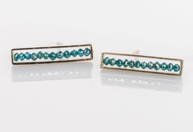 Custom Jewelry, blue diamond med bar studs, Sydney Strong, Greenville South Carolina