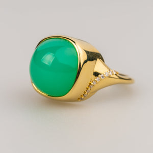 Custom Jewelry, Chrysoprase ring, Sydney Strong, Greenville, South Carolina