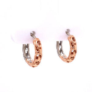 Custom Jewelry, 18k white and rose gold scroll huggie hoops, llyn strong, Greenville, South Carolina