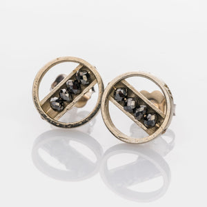 Custom Jewelry, black diamond circle studs, Sydney Strong, Greenville, South Carolina