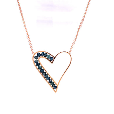 Custom Jewelry, blue diamond heart necklace, Sydney Strong, Greenville, South Carolina