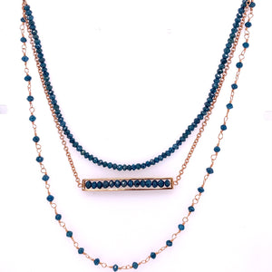 Custom jewelry, 18k rose gold blue diamond triple necklace, Sydney Strong, Greenville, South Carolina