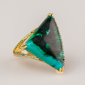 Custom jewelry, Chrysocolla malachite ring, Syndey Strong, Greenville, South Carolina