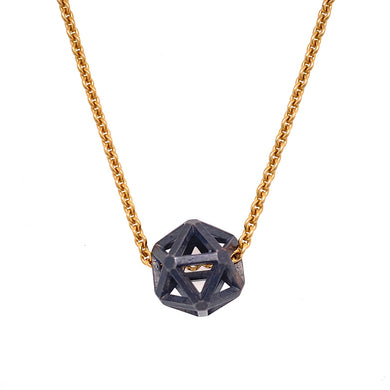 Custom Jewelry, oxidized sterling silver isohedron necklace, Erin Stuart, Greenville, South Carolina