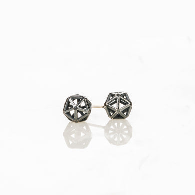 Custom jewelry, oxidized sterling silver isohedron studs, Erin Stuart, Greenville, South Carolina