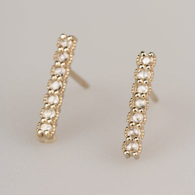 Custom Jewelry, Rose cut diamond bar studs, Sydney Strong, Greenville, South Carolina