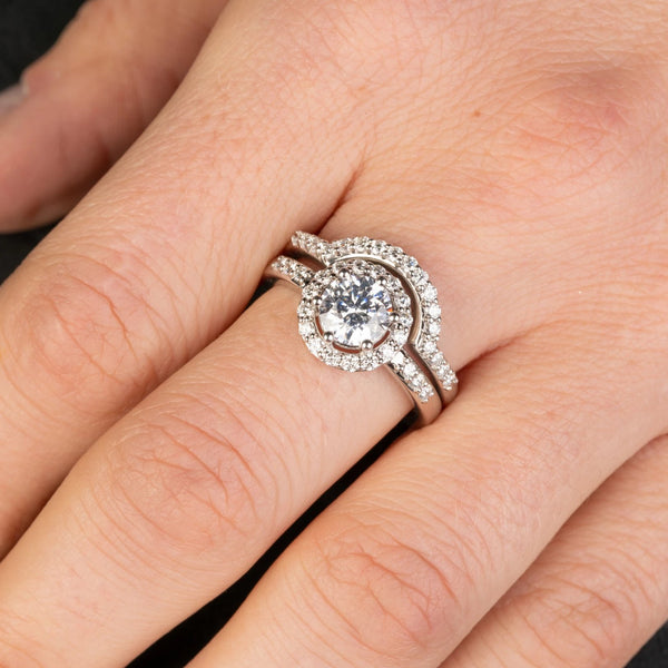 Custom Jewelry, white diamond halo ring, white diamond countour ring, llyn strong, Greenville, South Carolina