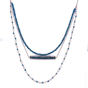 18k White Gold Blue Diamond Triple Layered Necklace