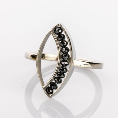 Custom Jewelry, White gold black diamond marquise ring, sydney strong, Greenville, South Carolina