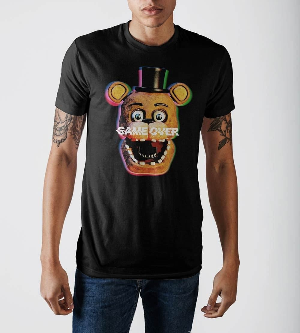 Five Nights at Freddy's Game Over Print Black T-shirt Tops - Omni Geek
