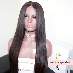 "Amala Virgin Hair- custom made lace wig- 24""- High density- ear to ear lace front- natural hairline- Straight- Filipino hair- Human Virgin Hair- Lace - Medium Brown"