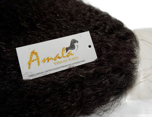 Amala Virgin Hair- Swiss lace- pre plucked- natural look-  hair extensions- human hair- quality hair- Indian hair- Cambodian hair- Peruvian Hair- 360 lace closure- Kinky curls