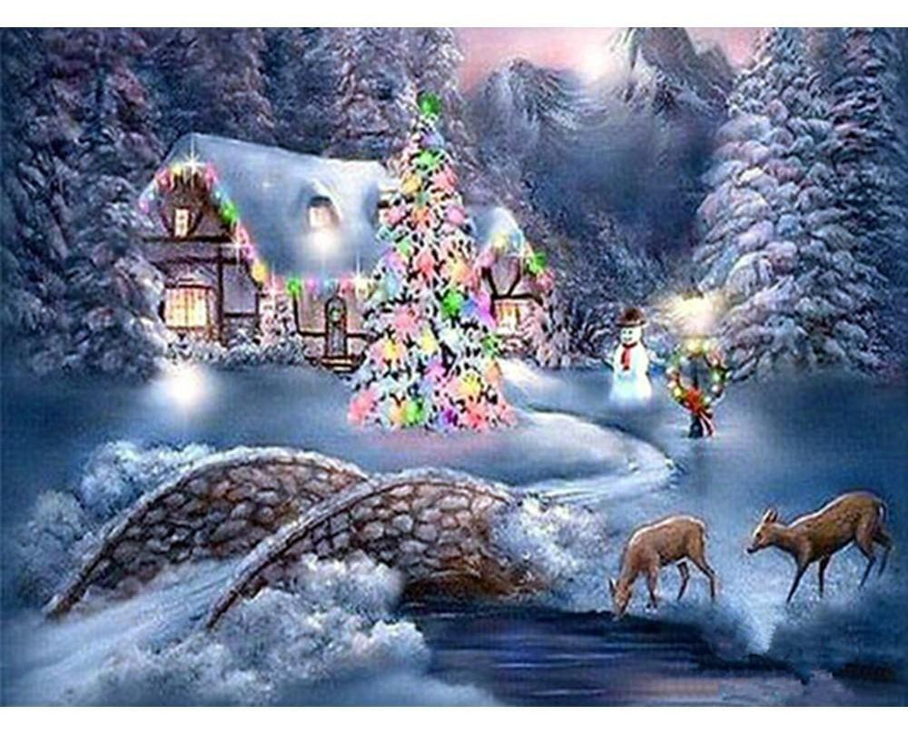 Painting By Diamond Kit Christmas Landscape Full Square – CANDY FUZZ