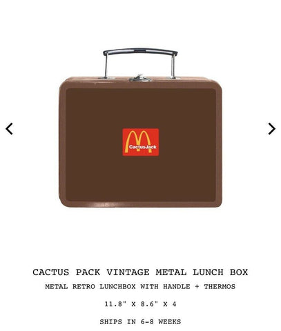Travis Scott x McDonalds Cactus Pack Vintage Metal Lunch Box