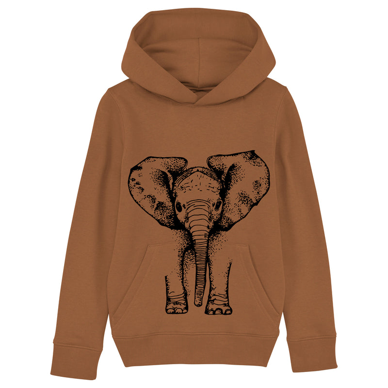 Organic cotton handprinted elephant hoodie by Fauna Kids
