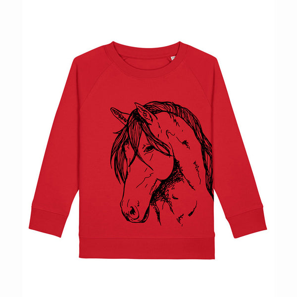 Fauna Kids organic cotton kids vegan sweatshirt. Horse Print. Designed and handprinted in Ireland. Pony Print, Equestrian themed sweatshirt