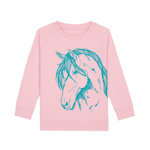 Fauna Kids organic cotton kids vegan sweatshirt. Horse Print. Designed and handprinted in Ireland.