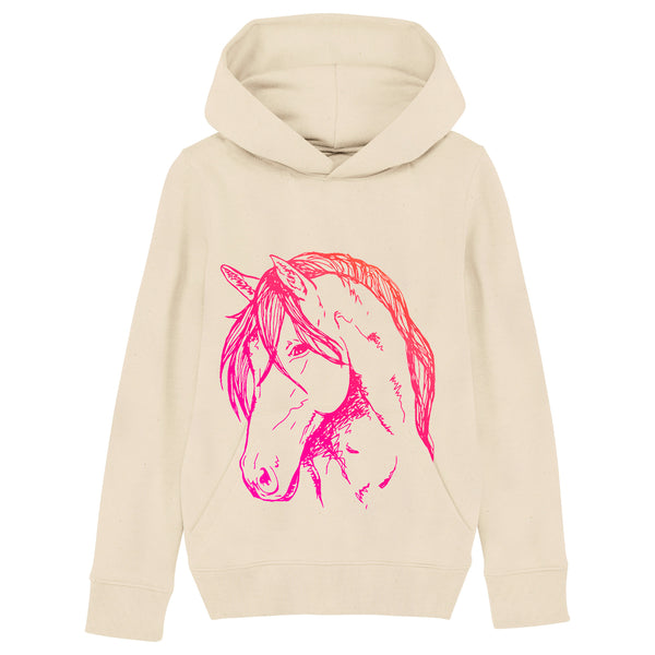 Studio Fauna Collection | Adult Pony Hoodie | Neon Pink on Natural