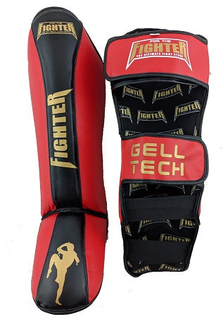 Muay Thai and MMA Shinpads - Red - For The Fighter - Boxing BJJ MMA Muay Thai Equipment Store