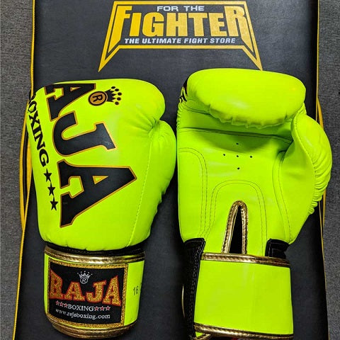 RAJA Leather Boxing Gloves | Fluro Green - For The Fighter - Boxing BJJ MMA Muay Thai Equipment Store