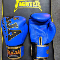 RAJA Leather Boxing Gloves | Blue - For The Fighter - Boxing BJJ MMA Muay Thai Equipment Store