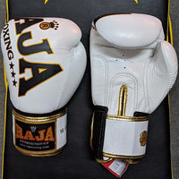 RAJA Leather Boxing Gloves | White - For The Fighter - Boxing BJJ MMA Muay Thai Equipment Store