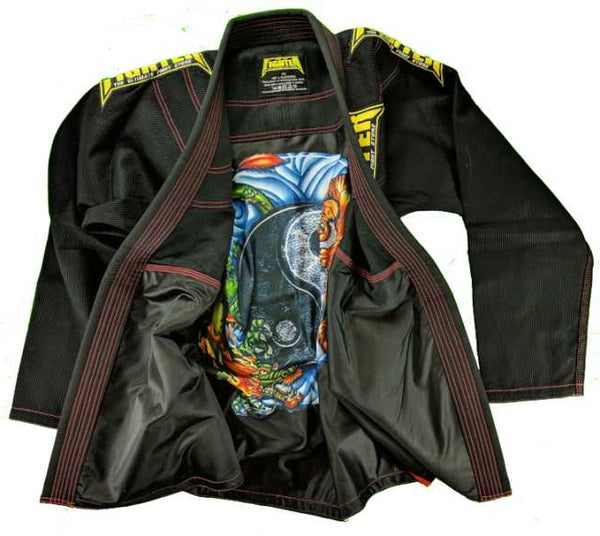 FTF Brazilian Jiu Jitsu BJJ Gi - Adults Black - For The Fighter - Boxing BJJ MMA Muay Thai Equipment Store