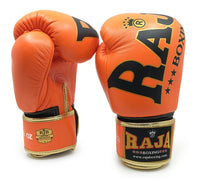 RAJA Leather Boxing Gloves | Orange - For The Fighter - Boxing BJJ MMA Muay Thai Equipment Store