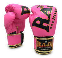 RAJA Leather Boxing Gloves | Pink - For The Fighter - Boxing BJJ MMA Muay Thai Equipment Store