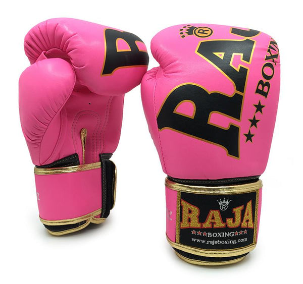 RAJA Leather Boxing Gloves | Pink - For The Fighter