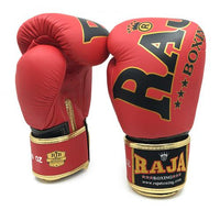 RAJA Leather Boxing Gloves | Red - For The Fighter - Boxing BJJ MMA Muay Thai Equipment Store