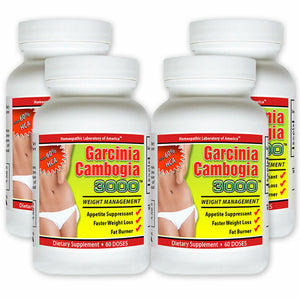 4 Pack PURE Garcinia Cambogia Extract Natural Weight Loss HCA Diet FAT BURN