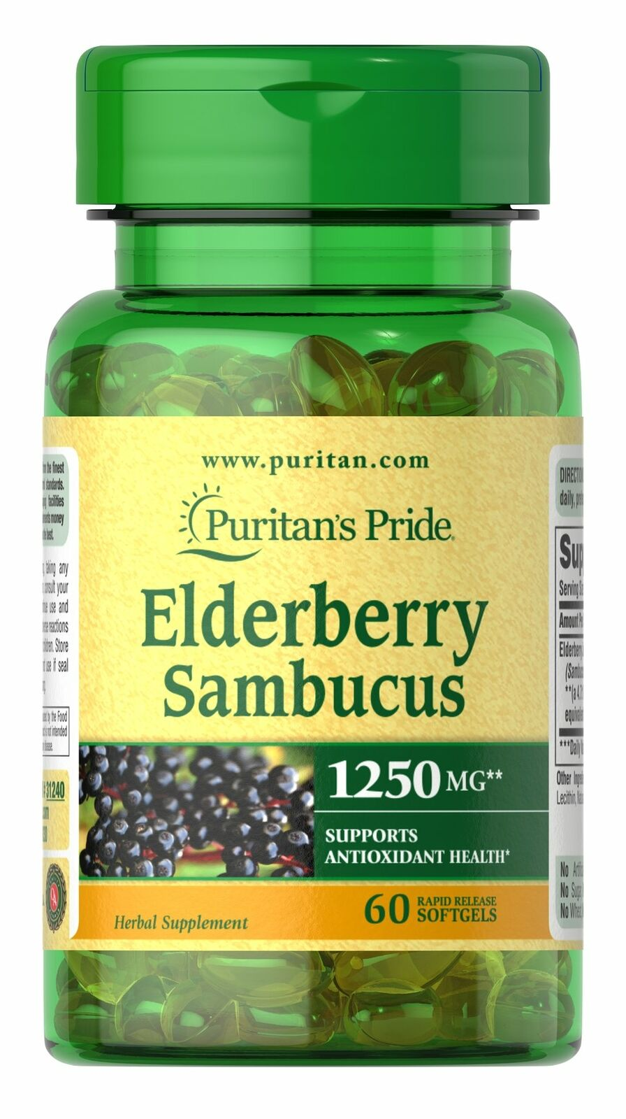Elderberry Sambucus 1250 mg - 60 Softgels