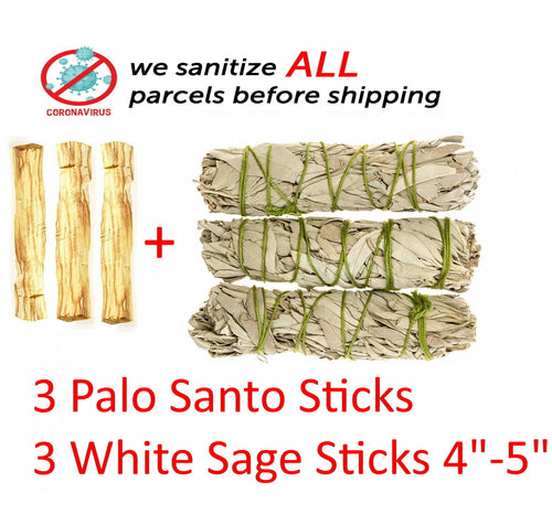 3 Palo Santo Wood & 3 White Sage Smudge Sticks