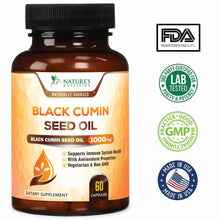 Load image into Gallery viewer, Black Seed Oil Capsules Highest Potency Black Cumin 1000mg - 60 softgels