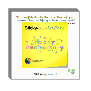 "Sticky-inspirations ""Happy Anniversary"" Inspirational Sticky Notes"