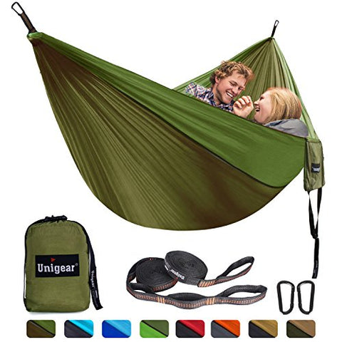 Unigear Single & Double Camping Hammock, Portable Lightweight Parachute Nylon Hammock with Tree Straps for Backpacking, Camping, Travel, Beach, Garden - PeakCrusher