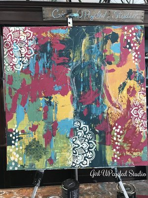 An Artistic Journey Intuitive Painting Girl UPcycled Studio