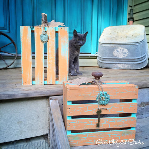 Fall Crackle Crate Pumpkin DIY Girl UPcycled