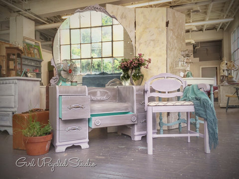 Soft hues of gray and lavender Girl UPcycled Studio