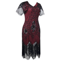 Wine Red 1920s Fashion Dress Art Deco Fancy Dress Great Gatsby Dresses
