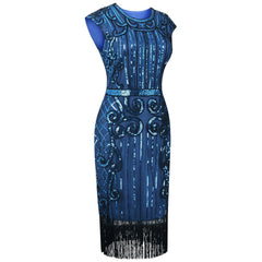 Navy Blue Flapper Dress Great Gatsby Art Deco 20s Birthday Party