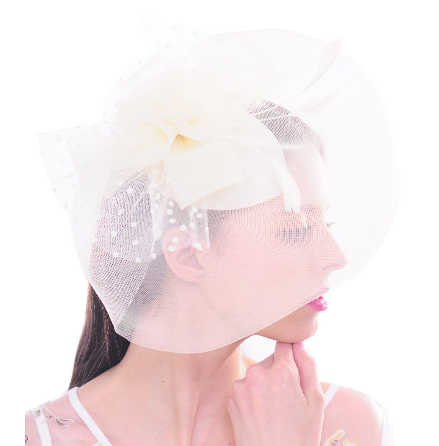 Women Bird Cage Mesh Flower Feather Net Fascinator Hat Bride